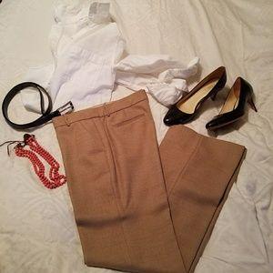 JCrew Like New Camel Tweed Trousers, lined Size 6